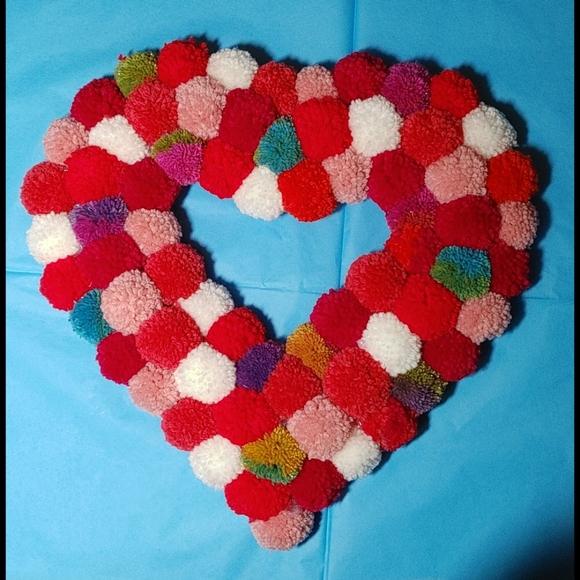 Boho Valentine Heart Pom Pom Door / Wall Wreath